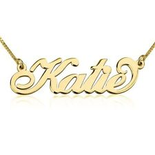 Solid 14k Gold Carrie Style Name Necklace