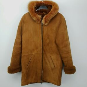 BULUR Womens Vintage Sheepskin Coat Genuine Retro MEDIUM (UK 10) Brown