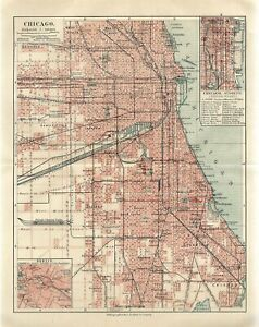 1895 CHICAGO CITY PLAN ILLINOIS AMERICA USA Antique Map