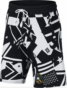 NIKE Wildcard Flag Live Play Graphic Loose Fit Black White Casual Shorts Mens XL