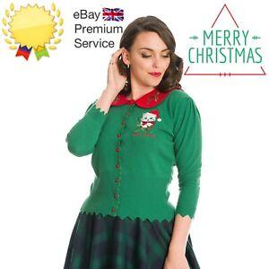 Banned Retro Merry Catmas Scalloped Knit Christmas Xmas Green Cardigan Size 6-20