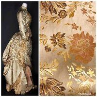 SWATCH Designer Brocade Satin Fabric- Antique Floral - Damask