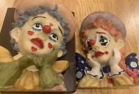 Clown Head Figurines Vintage Hand Crafted Ceramic (Set of Two)