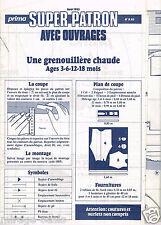 Une Grenouillière chaude. 3 à 18 mois.PRIMA Août 1985,Vintage Neuf non découpé.