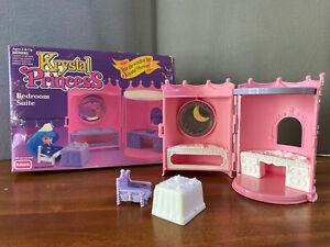 """1992 Playskool Krystal Princess doll """"Bedroom Suite"""" Playset Complete in Box"""