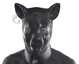 LATEX BLACK GUM FETISH PIG PIGLET FULL HEAD RUBBER HOOD MEN PIGGY ANIMAL MASK