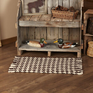 """VHC Brands Rustic 20""""x30"""" Accent Rug Brown Knotted Tassels Wool Floor Decor"""