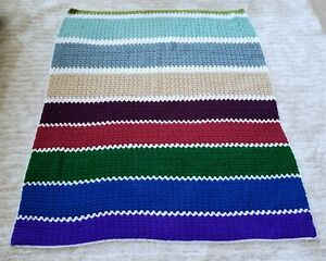 Crochet Multi-Color Bands Stripes Afghan Blanket Throw 54 x 60