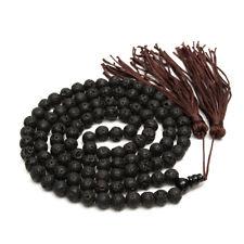 108 Prayer Beads Lava Rock Stone Tibet Buddhist Mala Necklace Bracelet Tassel