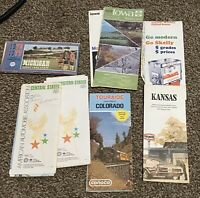 Lot of 8 Road MAPS 1970's Ephemera Iowa Colorado Michigan Texaco Conoco Mobil