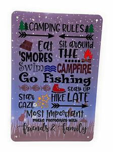 CAMPING RULES Eat 'S'mores Swim Hike Go Fishing Make Memories & more 8x12 Sign
