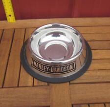 HARLEY-DAVIDSON beat-up silver water bowl Motorcycles pets biker dog HD steel