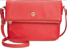 Giani Bernini NWT $89 Small Leather Crossbody Tomato Red Gold Zip Flap Over