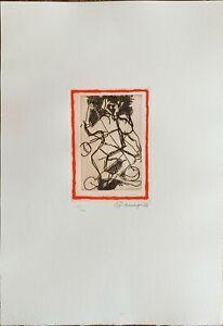 Luciano Minguzzi incisione Yo-Yo rossa  50x35 firmata numerata IX/XXV 1985
