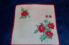 Taschentuch aus 100 % Baumwolle mit roten Rosen