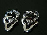 Two Hearts Silver with Purple Rhinestones Earrings  E139