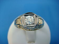 14K GOLD MEN'S SOLITAIRE 0.60 CT OLD MINE DIAMOND HANDMADE RING, SOLID BACK