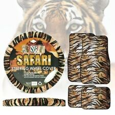 Tiger Car Floor Mats Steering Wheel Cover Animal Print Front & Rear Striped 5pc