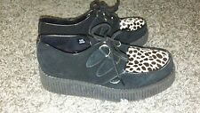 Underground Creepers ponyhair leopard Leather England Shoes Goth sz UK 6 EU 40