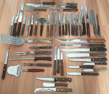 OLD VTG ANTIQUE WOOD HANDLE KITCHEN KNIFE UTENSIL FORGECRAFT EKCO LOT OF 50