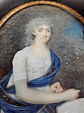 PORTRAIT OF MADAME MALOU. OIL. MINIATURE. ANTOINE FLEURY. FRANCE. XVIII-XIX