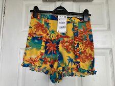 BNWT Zara Accessories Women's Yellow Floral Print Shorts Size S