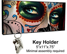 KEY HANGER HOLDER RACK - SUGAR SKULL 8 Dia de los Muertos Halloween Horror