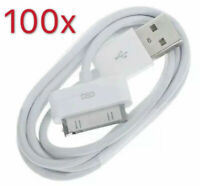 Lot 100 White USB Data Sync Charger Cable Cord For iPhone 4S 3GS iPod Wholesale