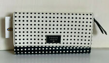NEW ! FOSSIL WHITE / BLACK DAWSON PRINTED FLAP CLUTCH WALLET $70 SALE