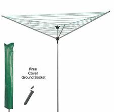3 ARM HEAVY DUTY ROTARY GARDEN CLOTH DRYER AIRER FREE SOCKET COVER 30M LINE NEW