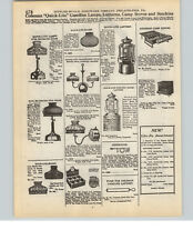 1927 PAPER AD 2 Sided Coleman Lantern Quick Lite Gas Gasoline Lamp Glass Shade