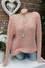 Douillette grossier pull pull en tricot 36 38 40 extra-large BOHO chaud rose