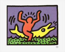 Keith Haring Dolphin 1992 Pop Shop Litho Print 9-1/2 x 11-3/4