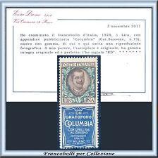 1924 Italia Regno Pubblicitari Columbia L 1 n. 19 Certif. Diena Nuovo Integro **