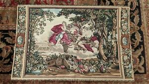 """Diana and Bacchus Louis XIV French Renaissance Wall Tapestry Le Brun 39"""" x 26"""""""