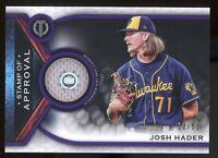 2021 Topps Tribute Josh Hader Purple Jersey 12/50 Milwaukee Brewers
