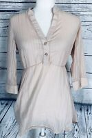 Odille Anthropologie Women's Size 4 Blouse Tunic Peach Tie Back 3/4 Sleeves V