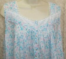 Eileen West Medium M Long Cotton Lawn Nightgown Sleeveless Gown Blue/Lilac New!