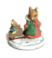 Forest Friends Figurine Christmas Mouse Sleigh Ride Avon Mini Resin 2""