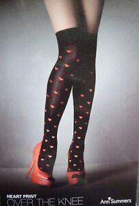 LADIES WOMENS ANN SUMMERS OVER THE KNEE HEART PRINT HOLD UP STOCKINGS BLACK RED