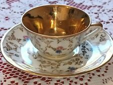 More details for  vintage limoges gout de ville small cup & saucer,gold,white and flowers pattern