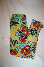 Women Lularoe Gold Black Green Red Gold Flower Fall  Leggings Size OS