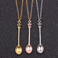 New Crown Mini Tea Spoon Pendant Women Necklace Long Chain Jewelry Gift Preciou