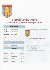 ROY AITKEN ASTON VILLA CARETAKER MANAGER 2006 ORIGINAL HAND SIGNED CUTTING/CARD