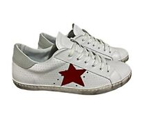 scarpe sneakers basse uomo donna pelle bianco ghiaccio stella rossa microforato