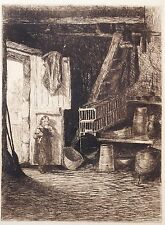 Fine etching by Richard Toovey (1861-1927) Small girl with doll. Interior barn..