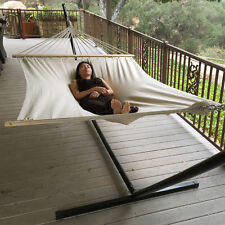 """Extra Wide! 59"""" Swing Double Size Canvas Bed Hammock Hardwood Spreader Bars New"""