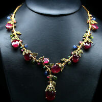 NATURAL RED RUBY TSAVORITE GARNET PERIDOT & SAPPHIRE NECKLACE 925 SILVER