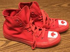 Converse All Star Red White Canada Flag Hi Canvas Athletic Shoes Sz 5 7 NEW RARE
