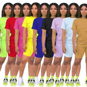 Women's two piece solid colors biker short set track suit design